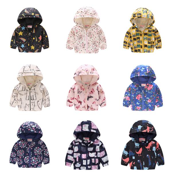2019 Çocuk Giysileri Erkek Ceketler Çocuk Kapüşonlu Fermuar Rüzgarlık Bebek Moda Baskı Ceket Bebek Kızlar Için Hoodies ALE417