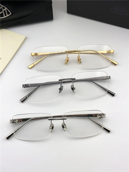 best selling Fashion brand MAYBACH prescription eyeglasses THE VISUAL rimless frame optical glasses clear lens simple business style for men