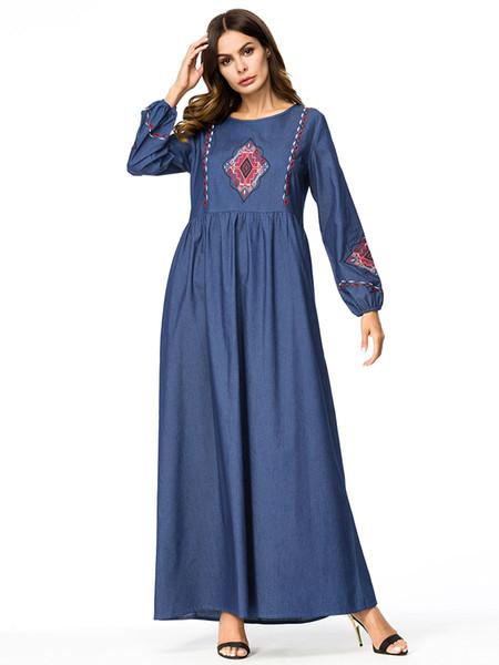 Women Casual Maxi Dress Embroidery Pleated Denim Dress Plus Size 4XL  Vintage Long Swing Jeans Dresses Muslim Islamic Clothing Long Sleeve Short  ...