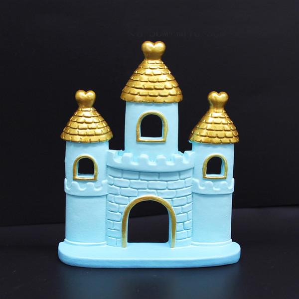 1pc Pink Blue Resin Cartoon Comic Castle Cake Decor Ornament Wedding Engagement Kids Birthday Party Girlfriend Supplies