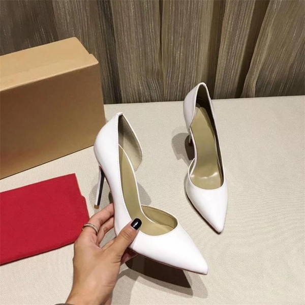 Women High Heels shoes Brand Designer Red Bottom shoes Luxury Glitter Pump Leather Pointed Toe Women Sexy Pumps Wedding Dress Shoes A13