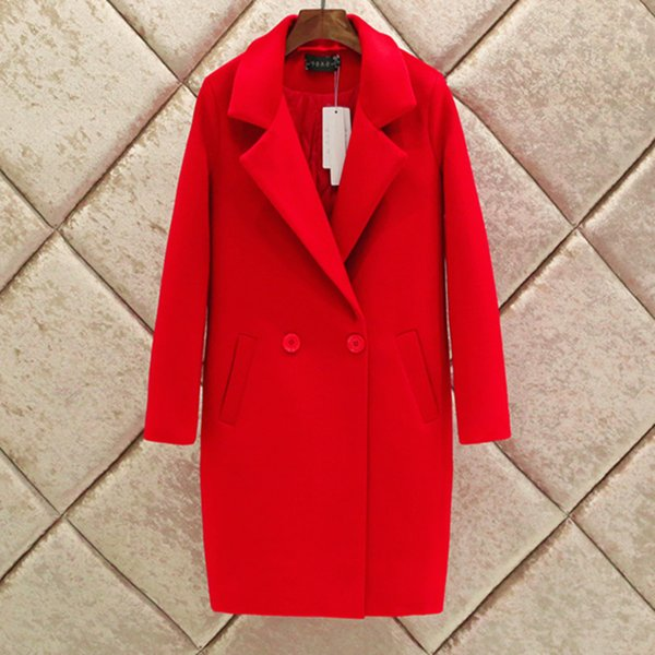Frauen Wollmantel Cotton Padded Weibliche Winterjacke drehen unten Kragen Thick Warm Outwear Jacke Doppelt-Knopf-Wollmantel G151