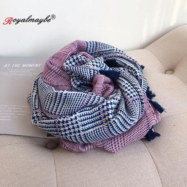 Femmes Foulard en coton à carreaux Foulards Automne 2019 Hiver chaud Imprimer Châle Mode d'été en gros Four Season Factory