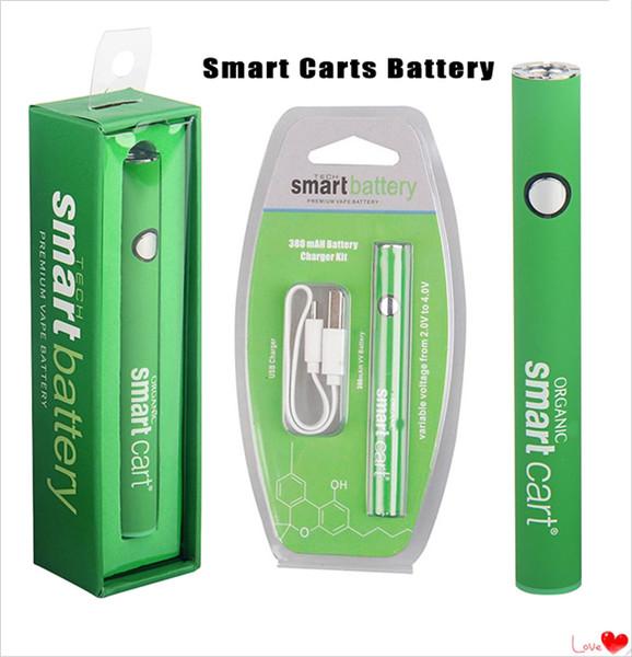 Carros inteligentes Batería precalentada Vape Pen con carga inferior Micro USB Starter Kit Voltaje variable 380mAh para cartuchos desechables de 510 hilos