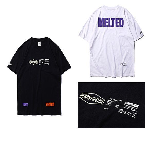 Heron Preston MELTED Purple-White-Yellow printed logos T-Shirts Letter Embroidered Patch Cotton Jersey Men Tshirt HP Tees Unisex