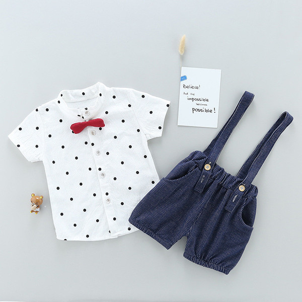 good quality baby boy clothing set summer 2019 new cotton baby boy clothes gentleman tops +overalls outfits baby girl clothes