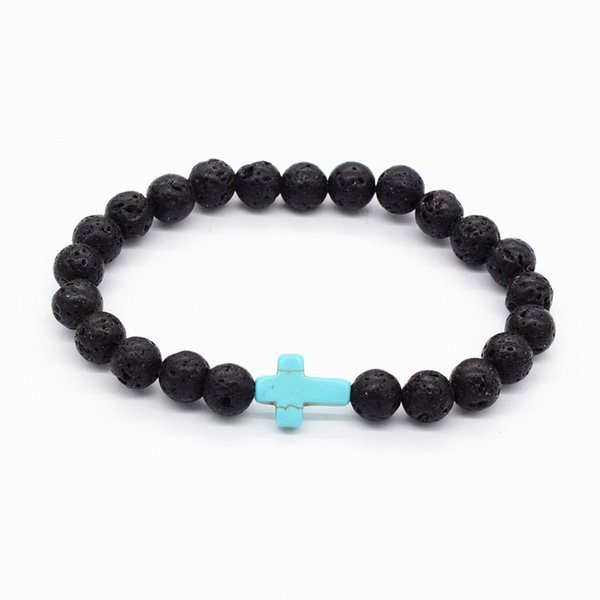 Fashion Black Lava Natural Stone Bracelets Cross Charm Essential Oil Diffuser Bracelet for Men Women Jewelry