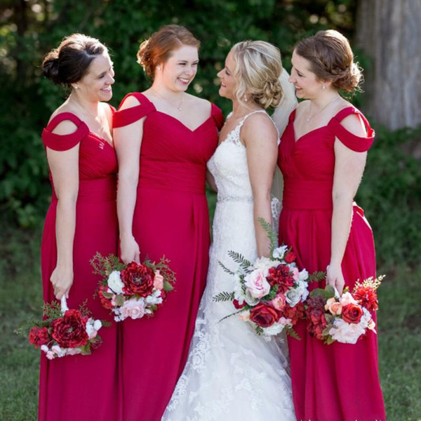 Off The Shoulder Cheap Chiffon Bridesmaid Dresses Red A-Line Ruffle Sweetheart Wedding Guest Dress Zipper Back Floor Length Maid of Honor