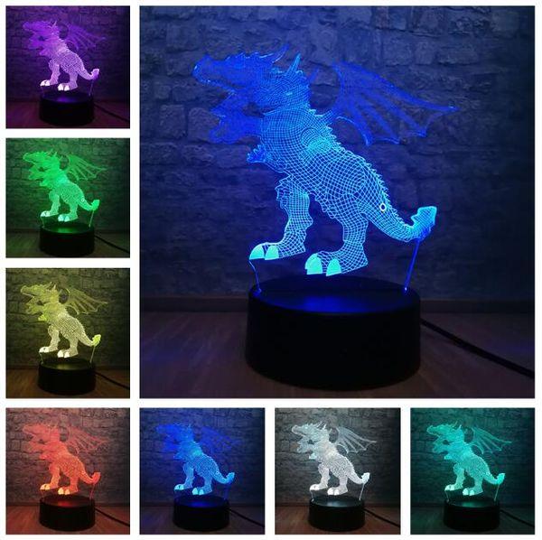 Удивительные Dinosaur птерозавров 3D LED Night Light 7 цветов лампы для украшения дома Младенческая ребенка спать Decor Lamp Друг семьи Игрушки Подарки