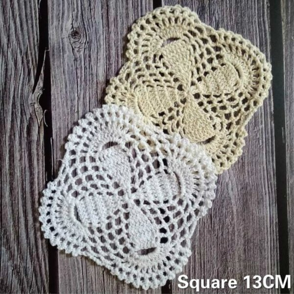 13CM Handmade Vintage Cotton Crochet Square Table Placemat Dining Doily Coffee Drink Cup Coaster For Wedding Party Home Kitchen