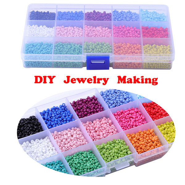 3mm Glass Rice Beads for DIY Jewelry Making Ornament Beaded Cross Stitch Beads 15 Colors 7500Pcs/Box Support FBA Drop Shipping M382F