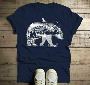 Hombres 039 s camisas camiseta del oso camping TShirt doble exposición O-neo-cuellos Natur