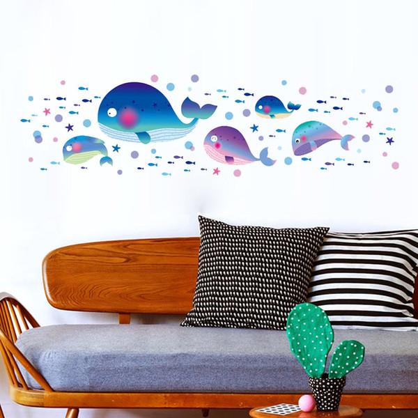 3041 Finding Fish Under Sea Shark Fish Cartoon Waterproof Removable Vinyl Decals Bathroom Wall Sticker Kids Gift Living Room Home Decoration
