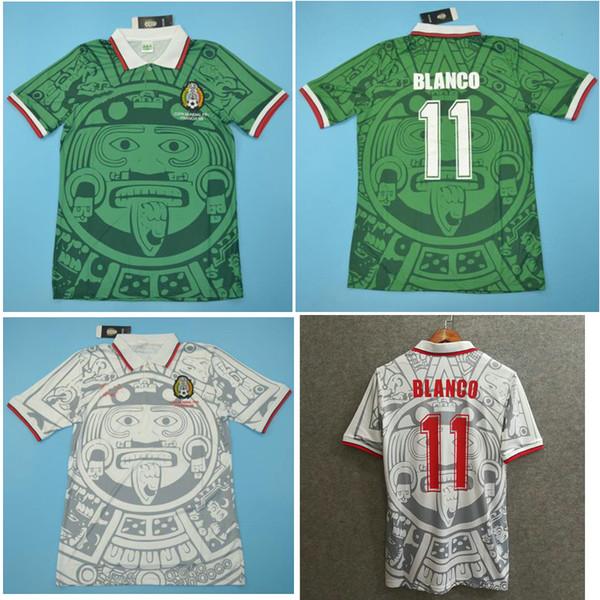 Top 1998 Mexique Rétro chandails vintage classique maillot de football vert Accueil HERNANDEZ 98 Maillot de foot de foot BLANCO maillot manches courtes