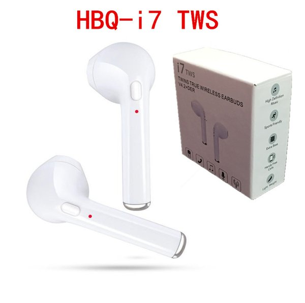 top popular HBQ I7 TWS Wireless Bluetooth Headphones Earbuds Earphones Mini Bluetooth Earbud with Mic for iPhone X IOS Android with Retail 2019