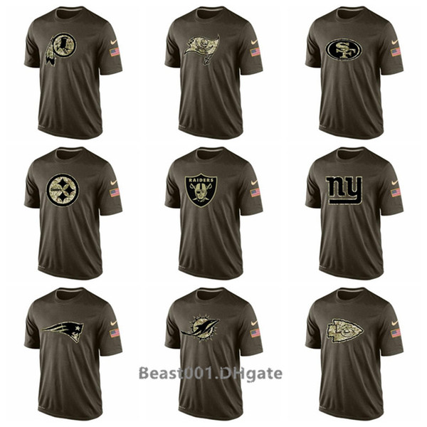 Men Redskins Buccaneers 49ers Steelers Raiders Giants Patriots Dolphins Chiefs Salute To Service T-Shirt