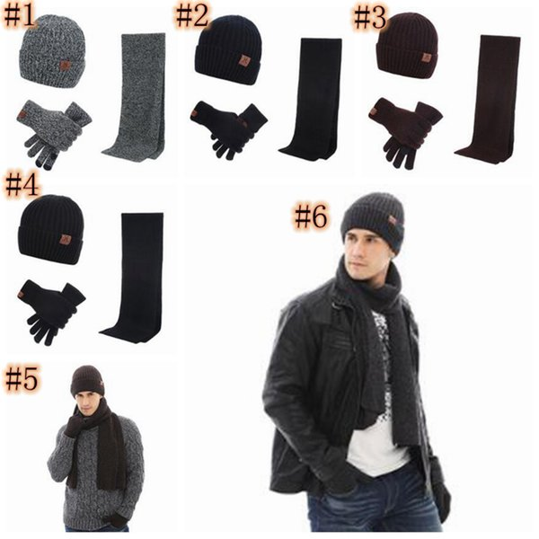 Autumn and Winter Outdoor Warm Beanies Hat Skiing Sport Windproof Cap Knited Hat Scarf Touch Screen Gloves Three-piece Suit Gift ZZA917