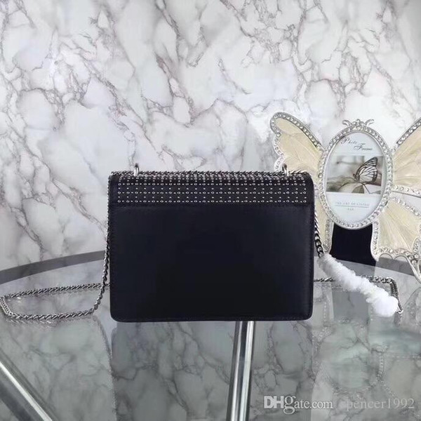 brand girls accessories handbag Rivet Genuine Leather Long Chain Bag Shoulder Straps crossbody bag