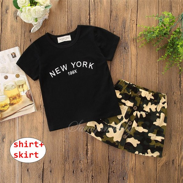 Baby Girl Camouflage Outfit Girl Short Sleeve Black tops + Skirt 2PCS Set Summer Cool Clothing for 1-6T