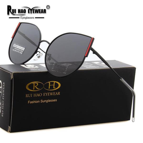 Rui Hao Eyewear Марка Cat Eye Солнцезащитные очки Женщины 2019 Поляризованные солнцезащитные очки 3 Цвета Модные очки вождения очки