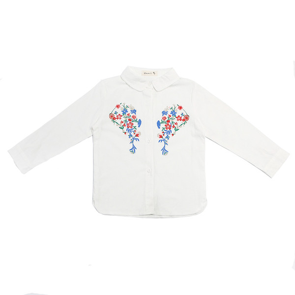 White Print Floral Girls Shirts for School 2019 New O-neck Girl Blouses Solid Tops Teenager Kids Children Clothing Clothes Bs071