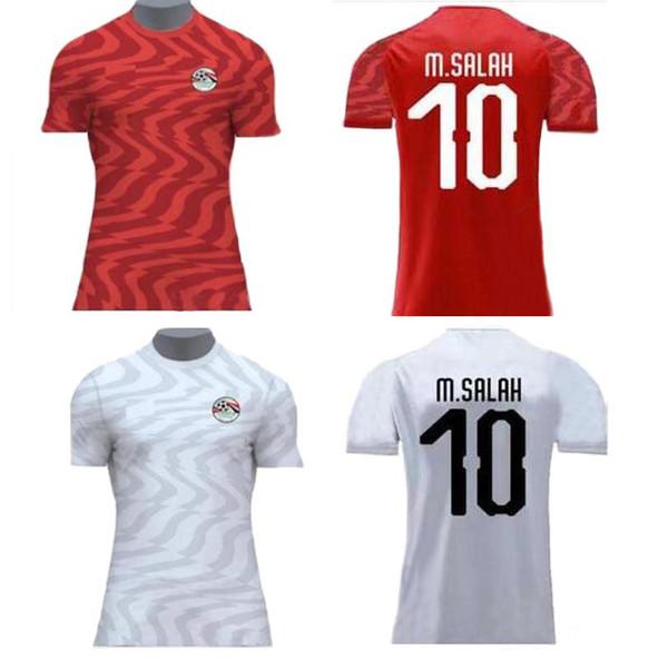 2019 Africa Cup Egypt Soccer Jerseys 19 20 M. SALAH 10 Home Red KAHRABA nazionale squadra uomo manica corta calcio CAMICIA maillot de foot