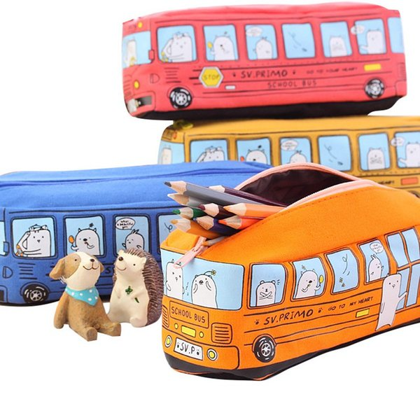Творческий автомобиль ручка сумка холст большой емкости для мелких животных автобус пенал студент канцелярские подарок для детей