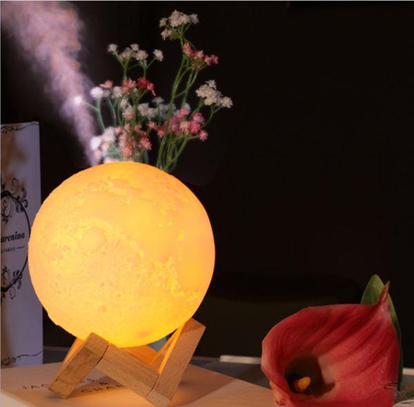 880 ml luftbefeuchter 3d mond lampe licht diffusor aroma ätherisches öl usb ultraschall humidificador nacht kühlen nebel luftreiniger 2 stück dhl