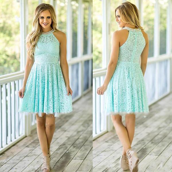 Mint Lace Brautjungfernkleider 2017 Country Beach Hochzeit mit Perlen Jewel Ausschnitt Reißverschluss hinten über Knie-Länge Mädchen der Ehre