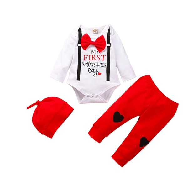 Newborn baby clothes My First Valentine baby outfits Infant Boys girl Valentine's Day Heart Print Romper+Pant+hat set