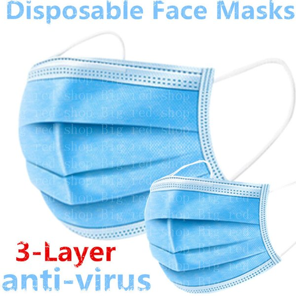 disposable face masks 3 layer ear-loop protective face mask breathable facial dust mask with elastic earrings