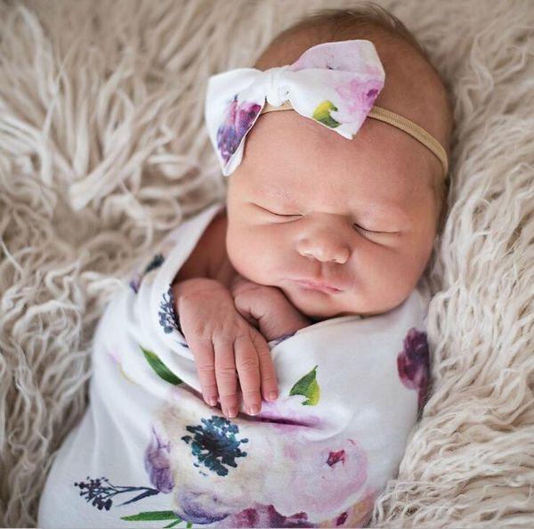 top popular INS New baby sleeping bag + headband European American style flowers printed child sleeping bag infant wrapped 2021