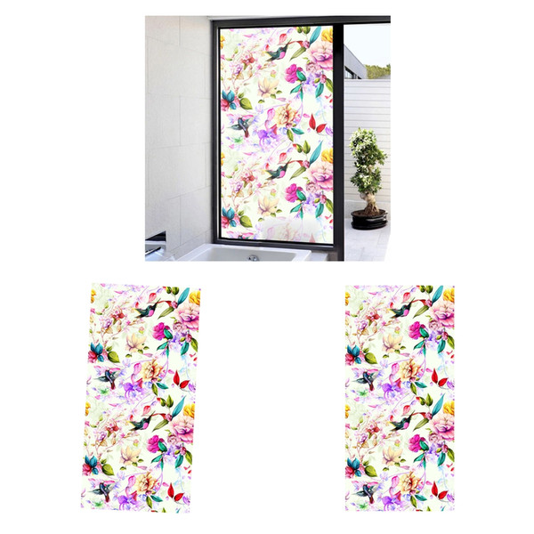 """top popular 2x 47\""""x23\"""" Floral Privacy Glass Window Film Static Sticker For Home Office 2021"""
