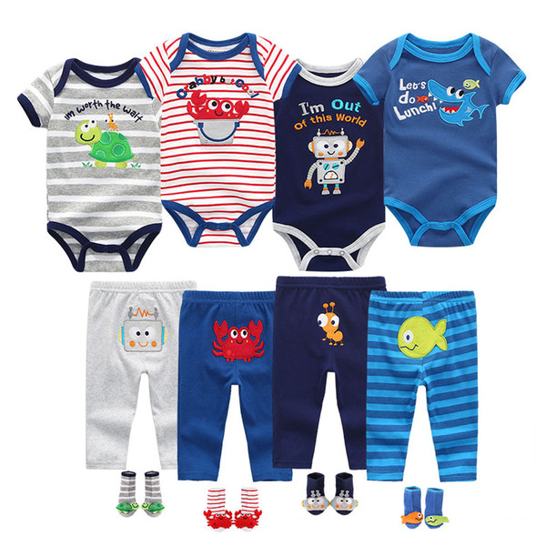 2019 Summer toddler Baby Boys&Girls Bodysuits Sets Short Sleeve O-Neck Clothing 6-12M Baby Jumpsuit Ropa bebe Baby ClothesMX190912