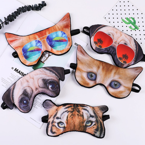 top popular 3D Sleep Masks Funny cartoon Eye Mask Cute animal print cat Shade Cover Travel Relax Aid Blindfolds Sleeping Mask 2019