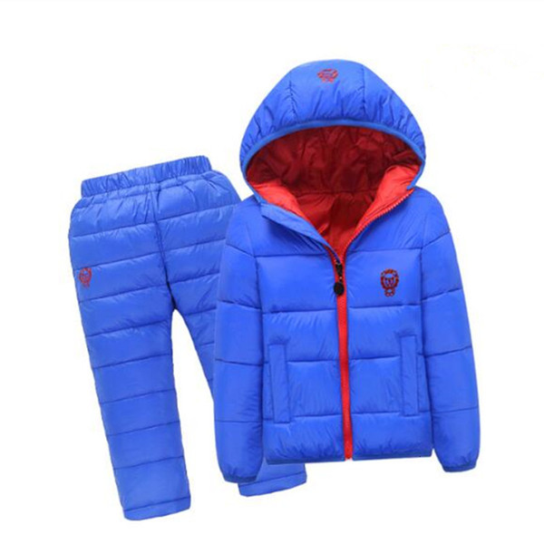 Children Set Boys girls Clothing sets winter 1-7year hoody Down Jacket + Trousers Waterproof Snow Warm kids Clothes suit 6 colorMX190916