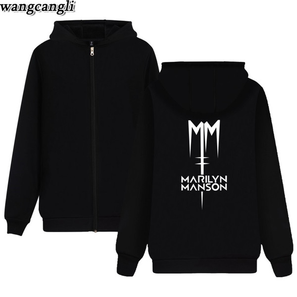 Marilyn Manson Moletom Com Capuz Homens Populares Banda de Rock de Inverno Com Zíper Hoodies Mens Rock Streetwear Marilyn Manson Jaqueta Roupas