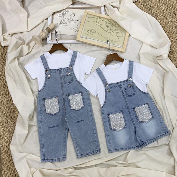 abbigliamento per bambini 2019 estate boutique abbigliamento per bambini set di cotone tops + tute moda ragazze di alta qualità boutique outfit