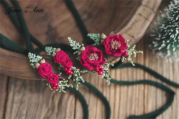 vino fiore Jane Z Ann Natale accessori di ripresa copricapo rosso foto festa per bambini in studio appena nati fotografia puntelli