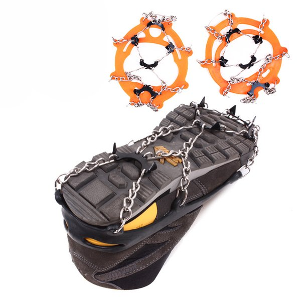 8 Teeth Non-slip Claws Ice Crampons Manganese Steel & Stainless Steel Gripper Ski Snow Cleats Hiking Climbing Shoes Chain Cover