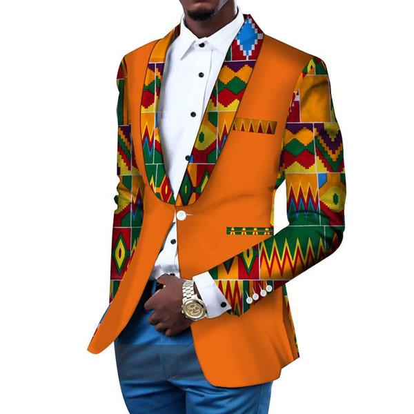 2019 Erkekler Blazer Slim Fit Ceket Afrika Erkekler Giyim Blazer Fantezi Blazers Takım Elbise Gelinlik Suit dashiki Bazin Riche Ankara