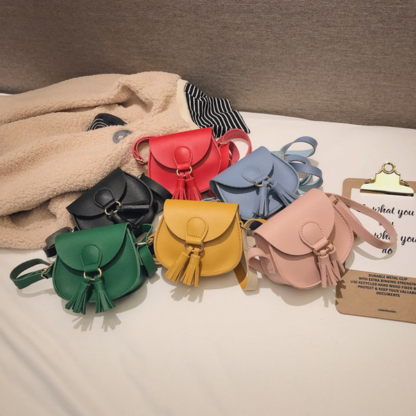 Girls Tassel Bag Baby Kids Messenger Bags Children Pu Leather Cross Hangbags Mini Shoulder bag 6 colors GGA2203