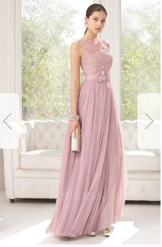 A-Line/Princess Bateau Floor-length Tulle Lace Prom Dressw86