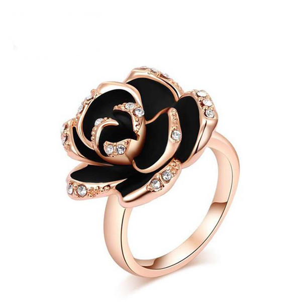 Beautiful Black Rose Flower Crystals Rose Gold Women Finger Rings 2019 New Female Jewelry Rings Accessories