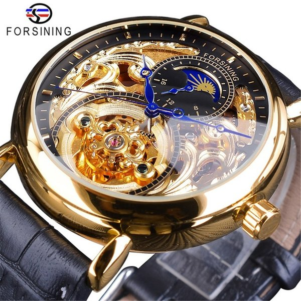 Forsining Luxury Skeleton Wristwatches Male Moon Phase Fashion Waterproof Mens Automatic Watches Genuine Leather Belt Male Clock SLZe161