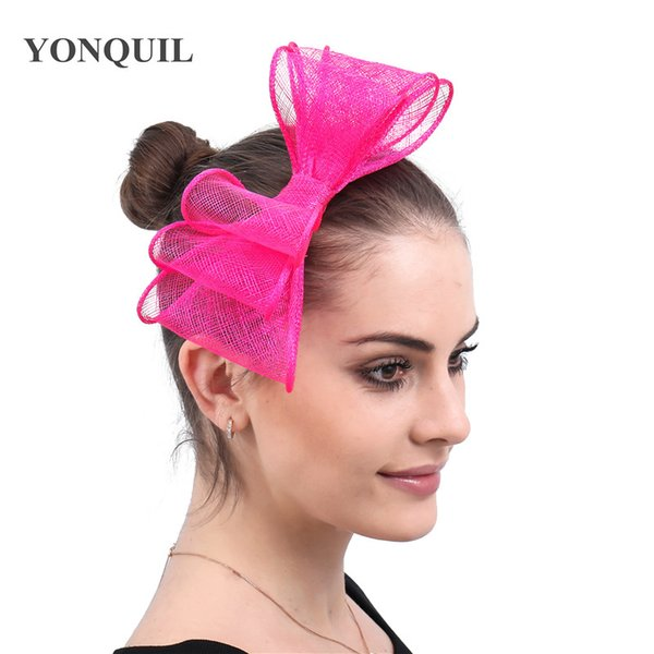 Charming women party event sinamay fascinator accessories elegant women party married derby bow hair accessories hair clips headwear race