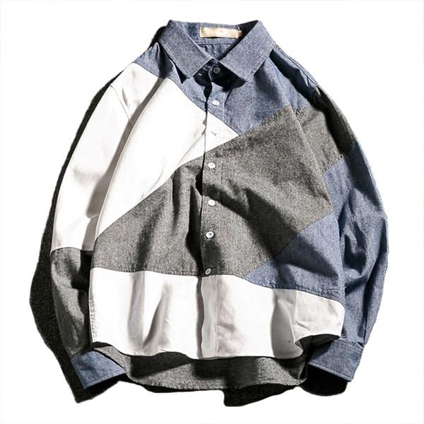 Camisa de hombre de manga larga 5xl ropa streetwear para hombre camisas casual slim fit camisas sociales hombres visten ropa tamaño asiático CS19