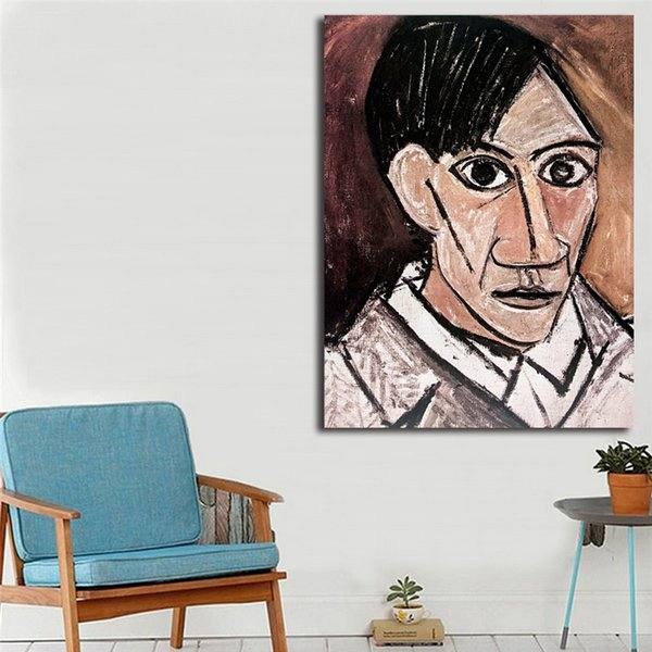Self Portrait With Palette 1906 By Pablo Picasso HD Canvas Posters Prints Wall Art Painting Decorative Picture Modern Home Decor
