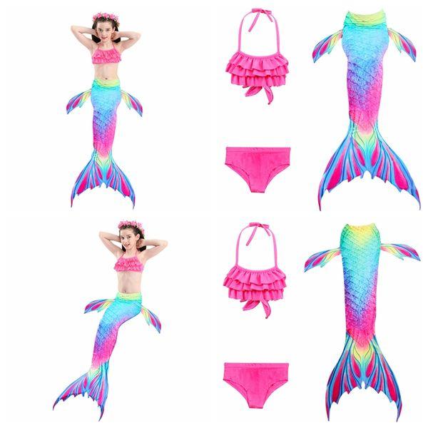 Hot sale top quality girls Mermaid swimsuit big children's Mermaid tail swimwear 3pcs/lot set baby girls' bathing suit kids beach wear