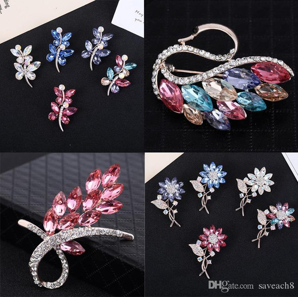 Luxury Crystal Flower Brooch Lapel Pin Rhinestone Jewelry Women Wedding Pins Large Brooches For Women brooches